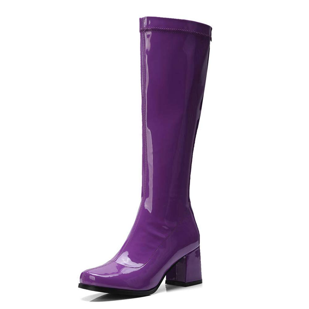 Purple T-JULY Women's Patent Leather Boots Zipper Solid colors Knee High Heels Autumn Winter Ladies shoes