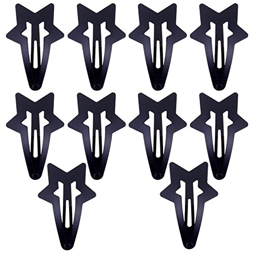 Design Black Stars Snap (10pcs Set Kit Lot Pack of Black Stars Shaped Hair Slides Grips Hairstyling Accessories Iron Hair Snap Clips Hairdos Prongs Sectioning Bendies Sleepies)