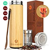 DOUNGURI Bamboo Tea Tumbler Mug with Strainer Infuser - 18 oz Vacuum Insulated Stainless Steel Thermos with Filter for Loose Leaf/Coffee Travel Bottle/Hot and Cold Water/Leak Proof/Gift Ready
