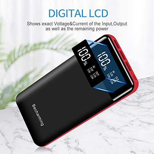 Tablets Power Bank 25000mAh Portable Charger High Capacity Battery Pack Backup External USB Battery Power Pack Battery Charger 3 Output 2 Input with LCD Display Compatible Smartphone Android Phone