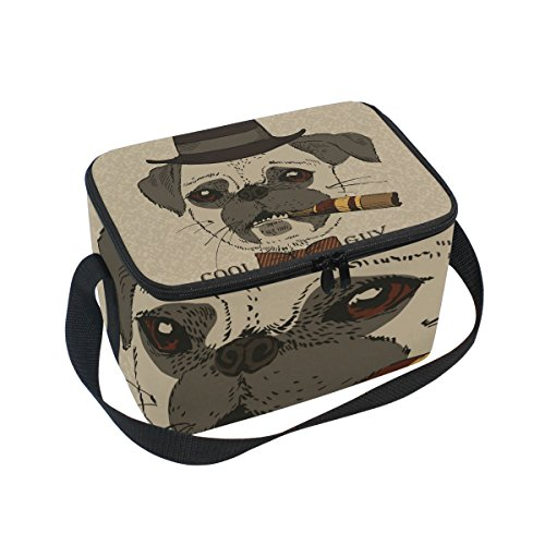 Gangster Guy - Dragon Sword Portrait Of Pug Dog With Cigar Cool Guy Gangster Look Insulated Lunch Bag Lunch Box Cooler Tote Bag for Men Women Kids