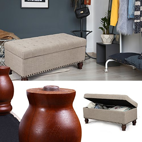 Asense Fabric Rectangle Tufted Lift Top Storage Ottoman Bench, Footstool with Solid Wood Legs, Nailhead Trim (Beige)
