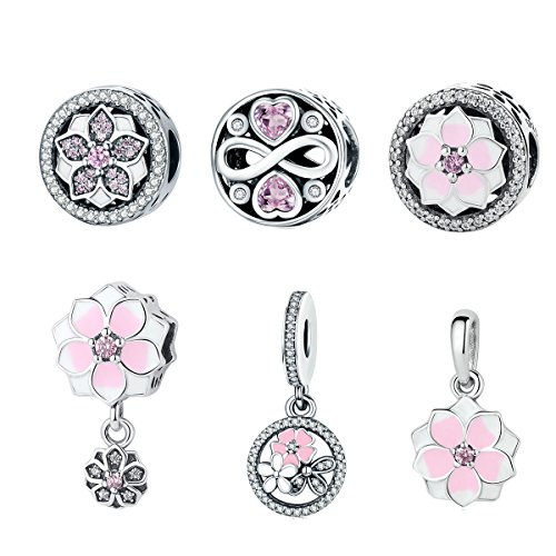 (BAMOER New Arrival 925 Sterling Silver Magnolia Bloom Pale Cerise Enamel Beads For Women Bracelet (Three Flowers Charm))