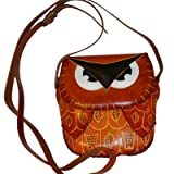 Genuine Leather Crossbody Bag, Lovely Owl Designs, a Unique Satchel.