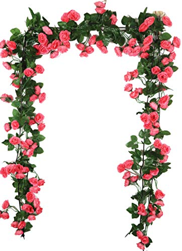 Lannu 2 Pack Artificial Rose Vine Flowers Fake Garland Ivy Flowers Silk Hanging Garland Plants for Home Wedding Party Decorations, (HOT Pink) (PINK2) ()