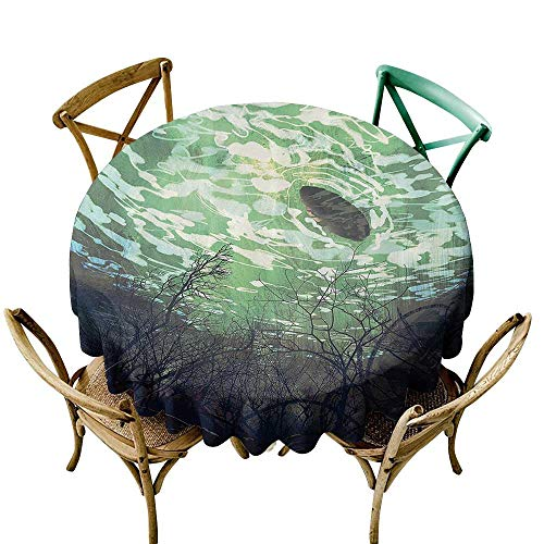 Christmas Tablecloth Fantasy World Decor,Underwater World with Tree Branches Stones Waves and Reflection of The Sun Digital Art,Green D70,Table Cover for Round Table ()