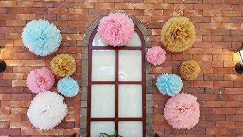 /ø20,25,35cm Bliqniq 15x fleurs en papier de soie pour la d/écoration de la noce,du baby shower.Blanc//Rose Clair//Rose