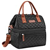 Lokass Lunch Bags for Women Wide Open Insulated Lunch Box with Double Deck Large Capacity Cooler Tote Bag with Removable Shoulder Strap Lunch Organizer for Outdoor/Work(Black)