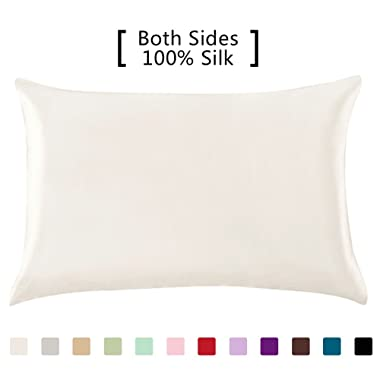 YANIBEST Silk Pillowcase for Hair and Skin - 600 Thread Count 100% Mulberry Silk Bed Pillowcase with Hidden Zipper, Standard Size Pillow Cases Ivory Natural White Without Bleach