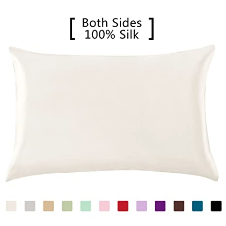 Yanibest Silk Pillowcase For Hair And Skin   600 Thread Count 100 Percents Mulberry Silk Bed Pillowcase With Hidden Zipper, Queen Size Pillow Cases Ivory Natural White Without Bleach by Yanibest
