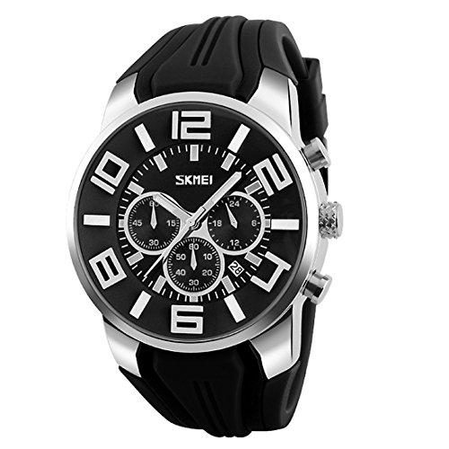 Quartz Design - Gets Unique Big Face Sports Watch Silicone Band Sport Outdoor Wristwatches Design Quartz Casual Watches for Men (Black)