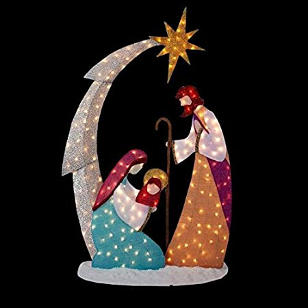 knlstore 6ft tall christmas lighted nativity scene display w holy family mary joseph baby jesus