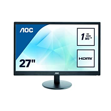 "910ccfb6d06 AOC e2770Sh 27"" Widescreen TN LED Black Multimedia Monitor  (1920x1080/1ms/VGA"
