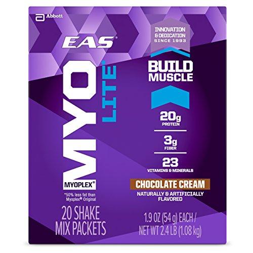 EAS Myoplex Lite Protein Shake Mix Packets, Chocolate Cream, 1.9 oz packets, 20 - Protein Whey Myoplex