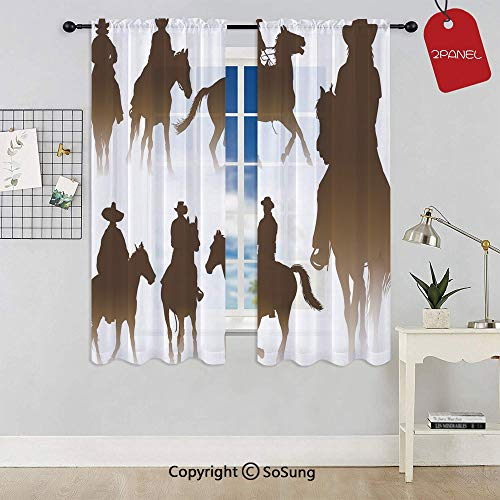 Collection of Horseback Riding Silhouettes Bridle Ranch Stallion Equestrian Theme Decorative Extra Wide Sheer Window Curtain Panel for Large Window,Sliding Glass Door,Patio Door,1 panel,102 x 84 Inch,