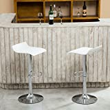 Roundhill Furniture Contemporary Chrome Air Lift Adjustable Swivel Stools with White Seat, Set of 2 For Sale