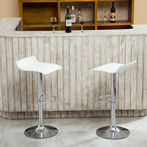 Chrome Stools - Roundhill Furniture Contemporary Chrome Air Lift Adjustable Swivel Stools with White Seat, Set of 2