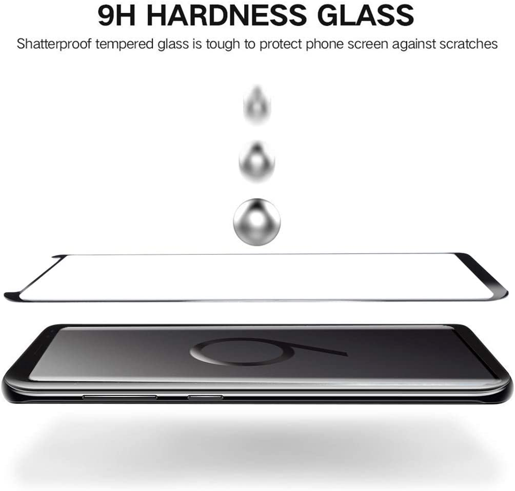 YSH Cell Phone Accessories 25 PCS 0.33mm 9H Surface Hardness 3D Curved Edge Anti-Scratch Non-Full Screen HD Fully Adhesive Glass Screen Protector for Galaxy S9 Screen Protector for Samsung Black