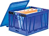 Storex Collapsible Crate with Lid,17.25 x 14.25 x 10.5 Inches, Blue, Case of 2 (61804U02C)