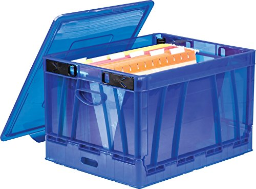 Storex Collapsible Crate with Lid,17.25 x 14.25 x 10.5 Inches, Blue, Case of 2 (Filing Crates)