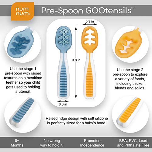 516wumDMEpL - NumNum Pre-Spoon GOOtensils | Baby Spoon Set (First Stage + Second Stage) | BPA Free Silicone Self Feeding Baby + Toddler Utensil | #1 Doctor Recommended Baby Led Weaning Spoon For Kids Ages 6 Months+