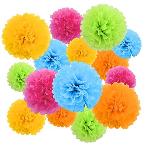 Tissue Paper Poms (Livder Paper Flowers Bright Colorful Tissue Paper Pom Poms for Party Birthday Wedding Christmas Festive Decorations, 15 Pieces of 10, 12, 14)