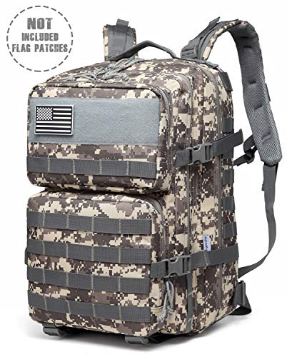 EnergeticSky Multifunction Military Tactical Backpack,Large Army Assault Pack Molle Bug Out Bag Backpacks Rucksack Daypack for Camping Hiking and Trekking 45L. (ACU Color)