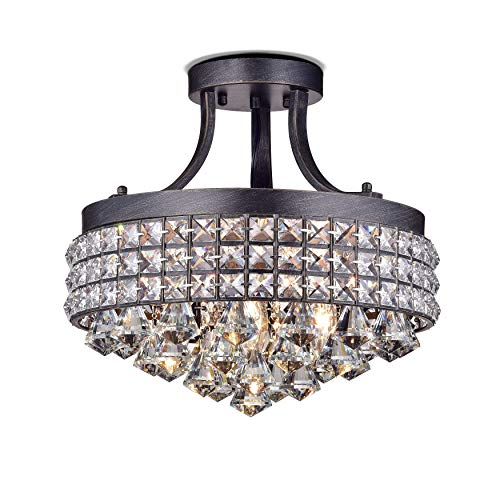 Jojospring Antonia 4-light Semi-flush Mount Chandelier with Antique Iron - Chandelier Crystal Flush Semi