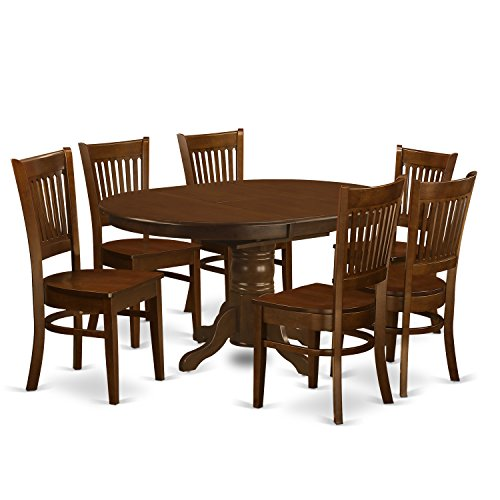 Wood Top Oval Extension Table (East West Furniture KEVA7-ESP-W 7 Piece Set Kenley Dinette Table With One 18