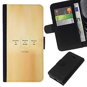 LECELL--Cuero de la tarjeta la carpeta del tirón Smartphone Slots Protección Holder For LG OPTIMUS L90 -- VICTOR HUGO CITA --