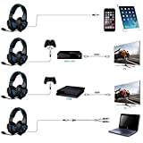 SADES SA-807 PlayStation 4 Pro Xbox One S Stereo Headset Over-Ear Gaming Headphones with Microphone for PC PS4 iPad Mobile Tablet Mac (Black & Blue)