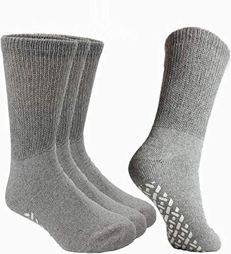 Debra Weitzner Non-Binding Loose Fit Sock - Non-Slip Diabetic Socks for Men and Women - Crew, Ankle 3Pk (CREW GREY with grips, Sock size 10-13/ Fits men's shoe size 7-11.5)