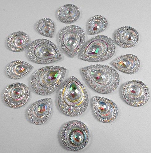 30 Pcs Silver Sparkly Iridescent Flat Back Teardrop, Circle Beads Cabochons Flat Teardrop Beads