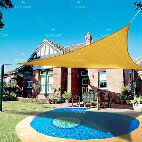 FLY HAWK Sun Shade Sail Triangle, 16'x16'x16' Patio Sunshade Cover Canopy - Durable Fabric Cloth for Outdoor Garden Backyard Pond Pergola Carport Driveway - Sand Color