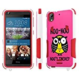 HTC Desire [626] Tough Case [SlickCandy] [White/Red] Hybrid Combat [Kick Stand] [Shock Proof] Phone Case - [Hoo is There Owl] for HTC Desire [626 / 626S]