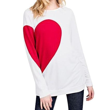 Mujer Blusa Yes Mile Roman Mesas San Valentín Regalo Completo Mangas Blanco Camiseta Heart