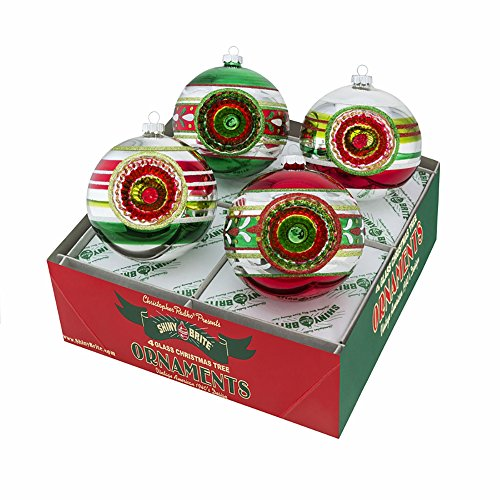 Stripe Glass Ornament (Holiday Splendor Stripe 4 Inch Glass Reflector Ball Christmas Ornaments Boxed 4 Piece Set)