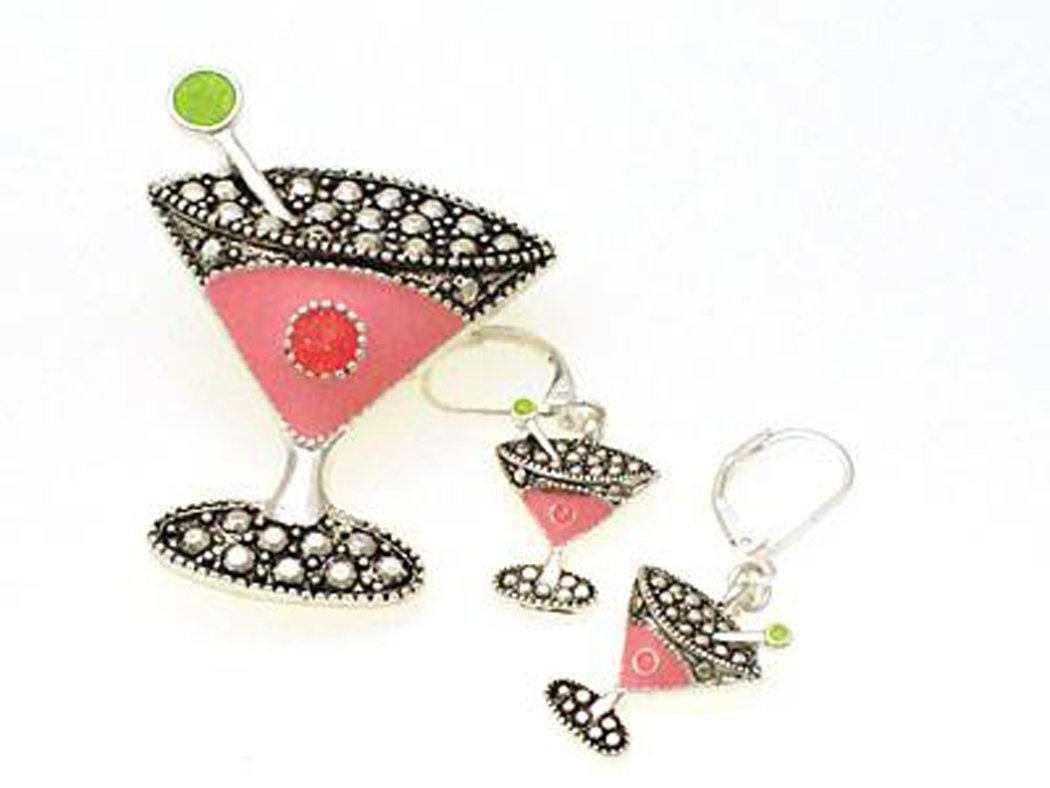 Jewelry Nexus Pink & Crystals Martini Glass Dual Function Brooch & Pendant Popcorn & Necklace Earring Set