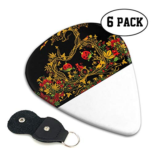 (Nice Music Vintage Halloween Dragon Vines Retro Ultra Thin 0.46 Med 0.71 Thick 0.96mm 6 Pieces Each Base Prime Celluloid Ivory Jazz Mandolin Bass Ukelele Plectrum Guitar Pick Pouch)