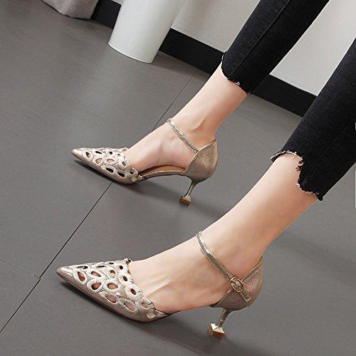 estilo punta ranurada Qiqi zapatos vacía alto mujer tacón marea luz fino salvaje de de zapatos Oro lazo Xue El con solo gF8O4q4