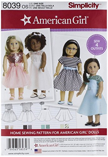 Doll Clothing 18 Pattern - Simplicity Patterns American Girl Doll Clothes for 18 Inch Doll Size: Os (One Size), 8039