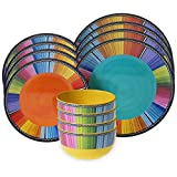 12-Piece Vibrant Colorful, Durable, Practical and Stylish Dinnerware Set, Perfect For Cozy Dinners At Home Or Festive Occasions With Friends, Great Gift Ideas