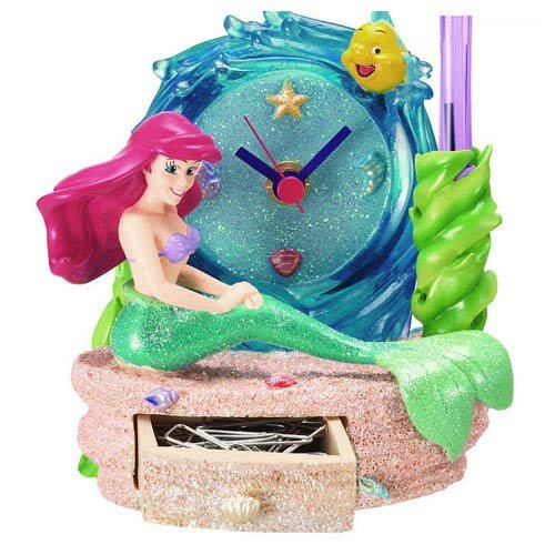 The Little Mermaid Ariel Pen Holder with Clock and (Mermaid Drawer)