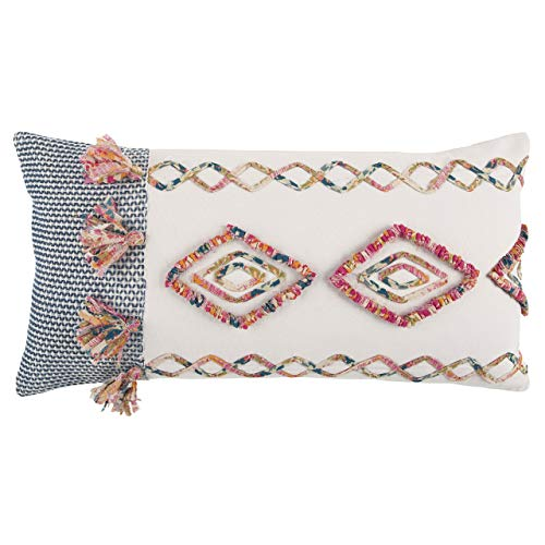 "Rizzy Home Decorative Polyester Filled Pillow Geometric Decorative Pillow, 14"" x 26"", Pink/Multi (Renewed) from Rizzy Home"
