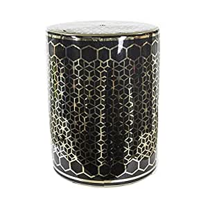 Benzara Remarkable Cylindrical Ceramic Garden Stool, Gold and Black