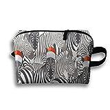 Christmas Hat Zebra Portable Large Storage Bag Portable Home Makeup Bag Travel Bag Cosmetic Case
