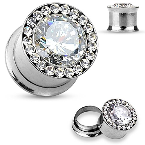 Pair of 00 Gauge 10mm CZ Centered CZ Rim Surgical Steel Double Flared Screw FE37 (Wedding Gauges)