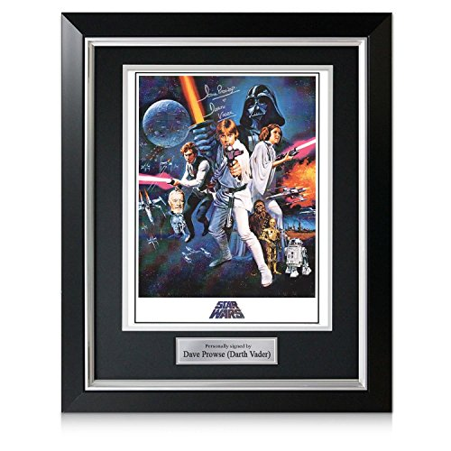 Darth Vader Signed Star Wars Poster In Deluxe Black Frame With Silver Inlay | Autographed Movie Memorabilia