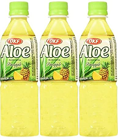 OKF Pineapple Aloe Drink, 16.9 Ounce (Pack of 3)