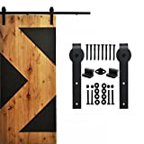 WINSOON Ship from USA Interior Single Barn Sliding Wood Door Hardware Classic Steel Roller Flat Track Kit American Country Style (12FT)